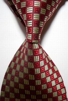 High Quality Wholesale&Retail New Checked Yellow Red JACQUARD WOVEN Men's Party Wedding Tie Necktie Drop Shipping