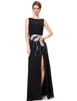 2014  Long Sexy Black Handmade Feather Back V-neck Elegant Formal Dress Backless Evening Prom Dress Under $80