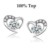 Min Order 9$ (mix)! Charming CZ Diamond Heart Stud Earrings Jewelry with Swiss Crystal