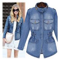 Top Quality Europe America Autumn New Blue Plus Size Women Ladies Washed Denim Jacket Top Coat S-XL