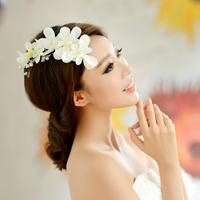 Cherry color Hanayome Korean headdress bride headdress flower hair ornaments handmade jewelry lace wedding dress fashion flower