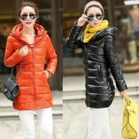 2014 women's slim PU down cotton-padded jacket female medium-long women's wadded jacket