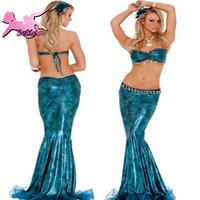 cosplay Charming Flash Blue Mermaid Long Dress Fantasia Fairy Tale halloween costumes for Women Sexy costume HMR001