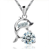 Top quality, S925 Sterling Silver Pure CZ Diamonds Fashion Love Jumping Dolphin necklace silver waterwave chain,free shipping