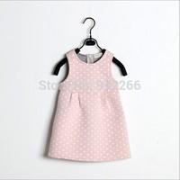 2015 new girl dress cotton thick sleeveless dress kids clothing cute dot baby clothing,14NOV53