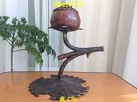 "12 "" Tibetan Buddhist bronze lotus leaf root tortoise statue censer burner Incense & Incense Holders 31 cm tall"