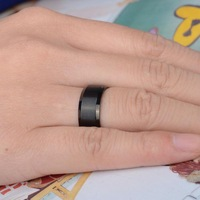 New hot sale fashion men's titanium stainless steel black ring men's jewelry 8mm wide