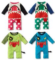Free shipping Baby long sleeves romper winter new shark cartoon boys romper baby boy clothes newborn bodysuit KR030