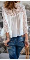 NEW Fashion white lace blouse for women Shirts blusas femininas casual camisas plus size