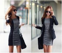 E NEW 2014 Plus Size Women Long Sleeve Pencil Dress Cotton Autumn Winter Dress Ladies Casual Office Dress Vestidos Free Shipping