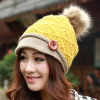 Korean winter hat fashion rabbit hair ball big button Knitted Hat Lady short canopies Mao Xianmao DG0899