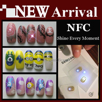 Wholesale New Arrival NFC Chip Shine Nail Sticker Lighting Decal Tool Fixed Scintillation Decoration Tip 300pcs/lot free shiping