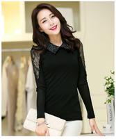 New arrival 2015 autumn women fashion casual tops basic chiffon blouse hollow Peter Pan collar Slim long sleeve shirt clothing