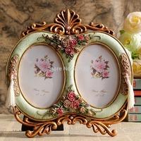 "Vintage Home Decor 3.5 x 5"" Double Oval Photo Frames with Antique Rose Flowers Decorations European Design"