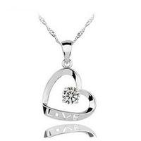 Silver love pendant 925 pure silver necklace accessories single