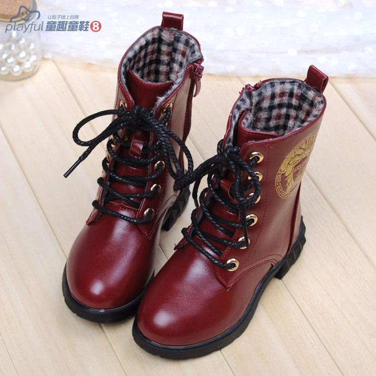 2014high fashion children martin snow boots high top