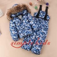 2014 winter children's clothing baby boys girls down coat set kids ski suit camouflage