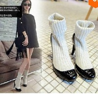 Star Show 2014 Size 35-39 Women Fashion Patch Sweater Decoration Short Boots Lady Knitting Sleeve Short High Heel Boots