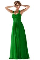 2014 Fashion Formal Dress Double-shoulder Strap Long Bridal Bridesmaids Dress Prom Party Dress(Black,Green,Red, Royal Blue)