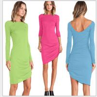 2015 fashion  dress women solid  long sleeve O- neck chiffon dresses, women sexy dresses size four S,M,L,XL
