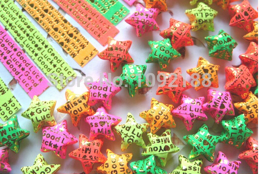 """200 Sheets Origami Star Folding Paper Pastel/Pearl Star Good Lucky Wish Star """"Miss/Love You"""" Words Free Shipping(China (Mainland))"""