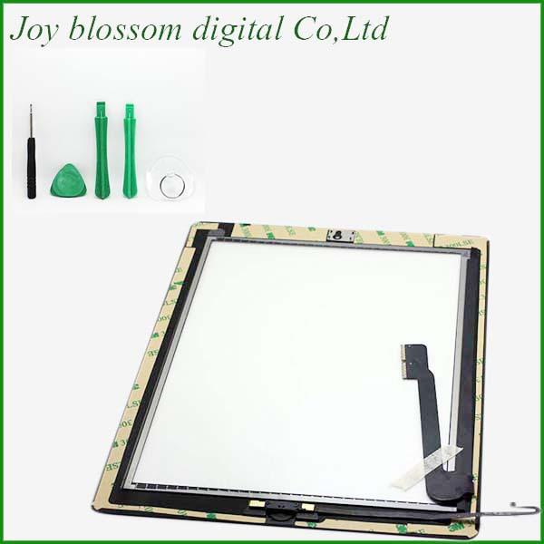 Al 100% testato per ipad 4 touch screen digitizer+home button+button flex +sticker +camera titolare completo