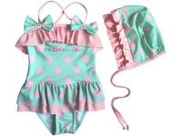 2014 polka dots/rainbow style baby bikini girl swimsuit 1 piece lace beach summer-wear lovely princess bowknot roupas de banho