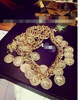 European style Baroque Mississippi limelight like gold waist chain tassel coins,belts for women,mens belts luxury,belts for men