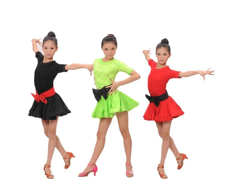 Free Shipping Wholesale 1556 Girl Latin Dance Dress Girls Stage Performance Practice Wear Latin Costumes Dresses(China (Mainland))