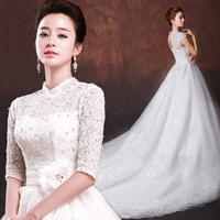 2015 New Wedding Dress Wedding Dress Fashion Winter Retro Word Shoulder Luxury Trailing Nuptial Long Sleeved Korean Large Code
