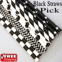 200pcs Pick Your Designs Halloween Party Black and White Paper Straws,Striped Polka Dot Chevron Star Bunting Plain Birch Cow