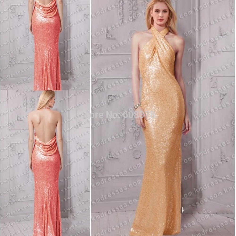 2015 Free Shipping Amazing Twisted Halter Cowl Draped Open Back Sequin Long Sexy Evening Dress Coral Gold Prom Gowns YJX252(China (Mainland))