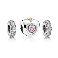 925 Sterling Silver Charm and Bead Sets with Box Fits European Pandora Style Jewelry Bracelet Necklaces -Princess and Spacers