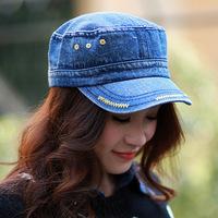 Korean Metrosexual lady hat star outdoor cap washed denim flat cap DG0995