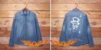 New  personality Vintage Skull painting street hip hop style classic men denim shirt full sleeve winter for harley