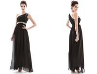 2014 New Summer Women's Elegant Single Shoulder Beaded Evening Party Dresses,Free Shipping