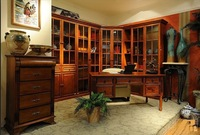 Free Combination Bookcase / American Country Style Study Furniture / Solid Wood Furniture Factory / Glass Door