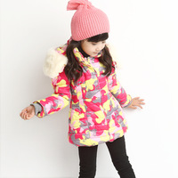 The new winter 2015 princess han edition quilted hooded children quilted jacket with thick camouflage coat free shipping