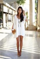 2014 new Summer Autumn dress off shoulder sleeve V-Neck chiffon mini sexy women casual dress Plus size vestidos femininos