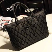 2014 plaid black big bag vintage bow women's shoulder bag handbag cross-body bags female