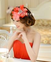 Red headdress hair accessories wedding dress bridal rhinestone hair accessories flower head European and American popular new st