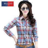 Brioso 2014 autumn plaid shirt female long-sleeve plus size shirt slim women's top 14111402