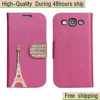 Silk pattern Leather Eiffel Tower Diamond Flip Wallet Case For Samsung Galaxy S3 i9300