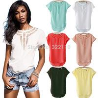 2015 Summer Women Blouses Shirts Hollow out Bat shirt Chiffon shirts Casual blusa Fashion camisa Tops Tee