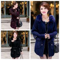 Fashion Luxury  100% Fox Fur Coat with fur Collar Cardigans Women Knitted Fur Outwear M L XL