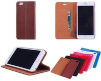 50PCS/Lot  Genuine  Wallet  Leather Case Cover For iPhone 6 Plus  with stand and card slot