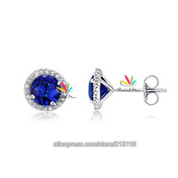 Wholesale Drop Shipping Free 1 Carat Navy Blue Created Sapphire Solid 925 Sterling Silver Stud Earrings Jewelry CFE8109