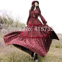 Free Shiping 2014 Fashion Floral Print Women Bohemian Cotton Long Maxi Flower Lantern Sleeve Dresses Spring And Autumn Gorgeous