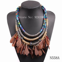 2014 new design fashion vintage rope chain chunky statement choker collar pendant feather necklace for ladies elegant jewelry