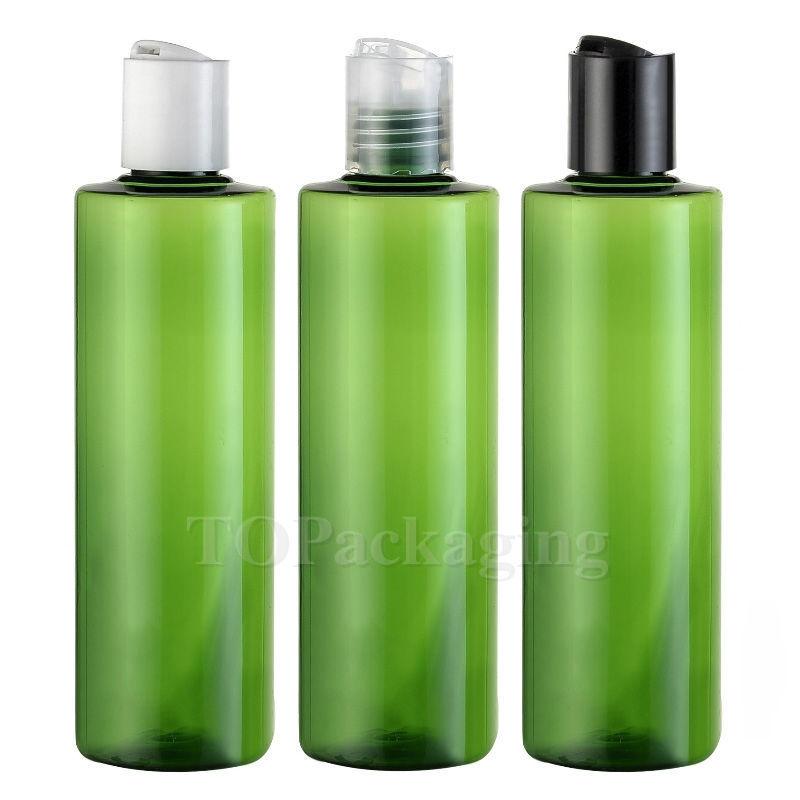 30PCS-250ML Press Screw Cap Bottle,Green Plastic Cosmetic Container,Empty Serum Sub-bottling,Sample Shampoo Bottle,Flat Shoulder(China (Mainland))